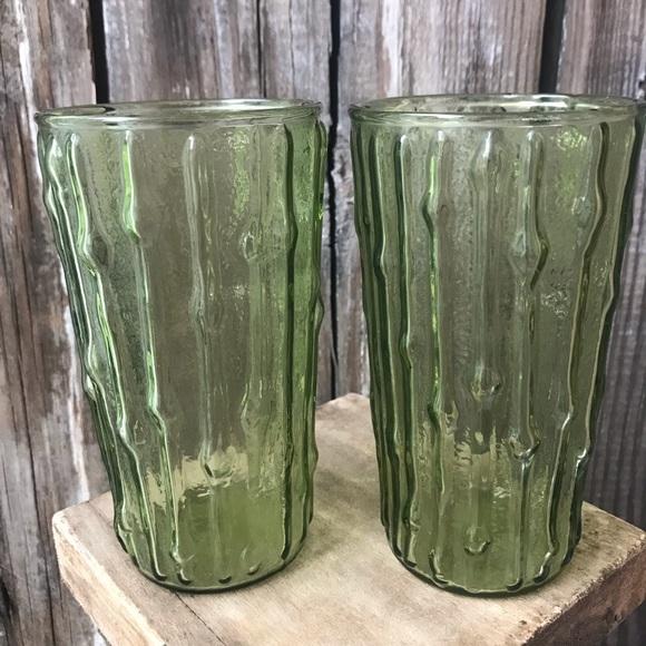 Vintage Green Ribbed Glasses